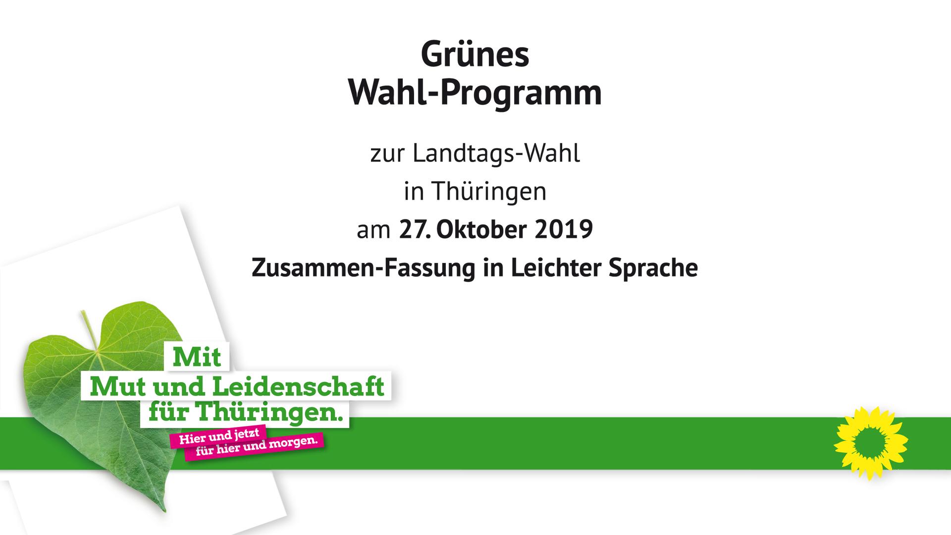 Landtagswahl 2019 – Unser Wahl-Programm in Leichter Sprache