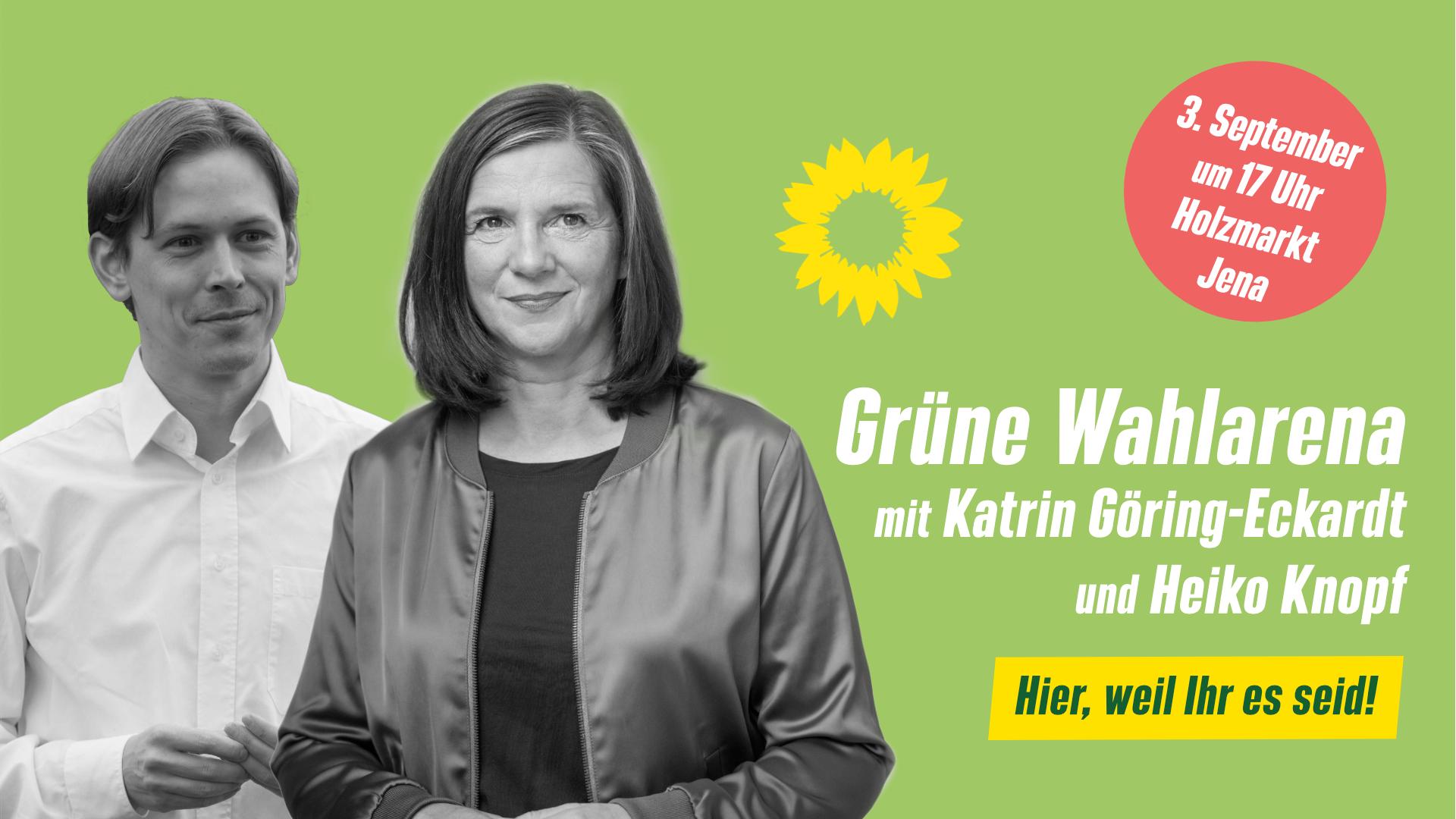 Grüne Wahlarena mit Katrin Göring-Eckardt und Heiko Knopf auf dem Jenaer Holzmarkt