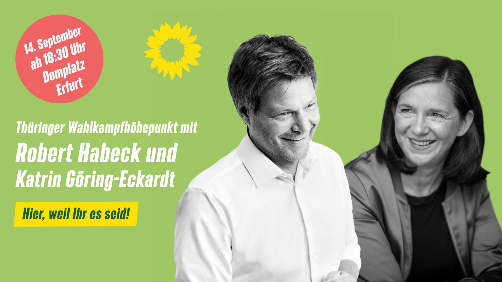 Wahlkampfhöhepunkt mit Katrin Göring-Eckardt und Robert Habeck auf dem Erfurter Domplatz