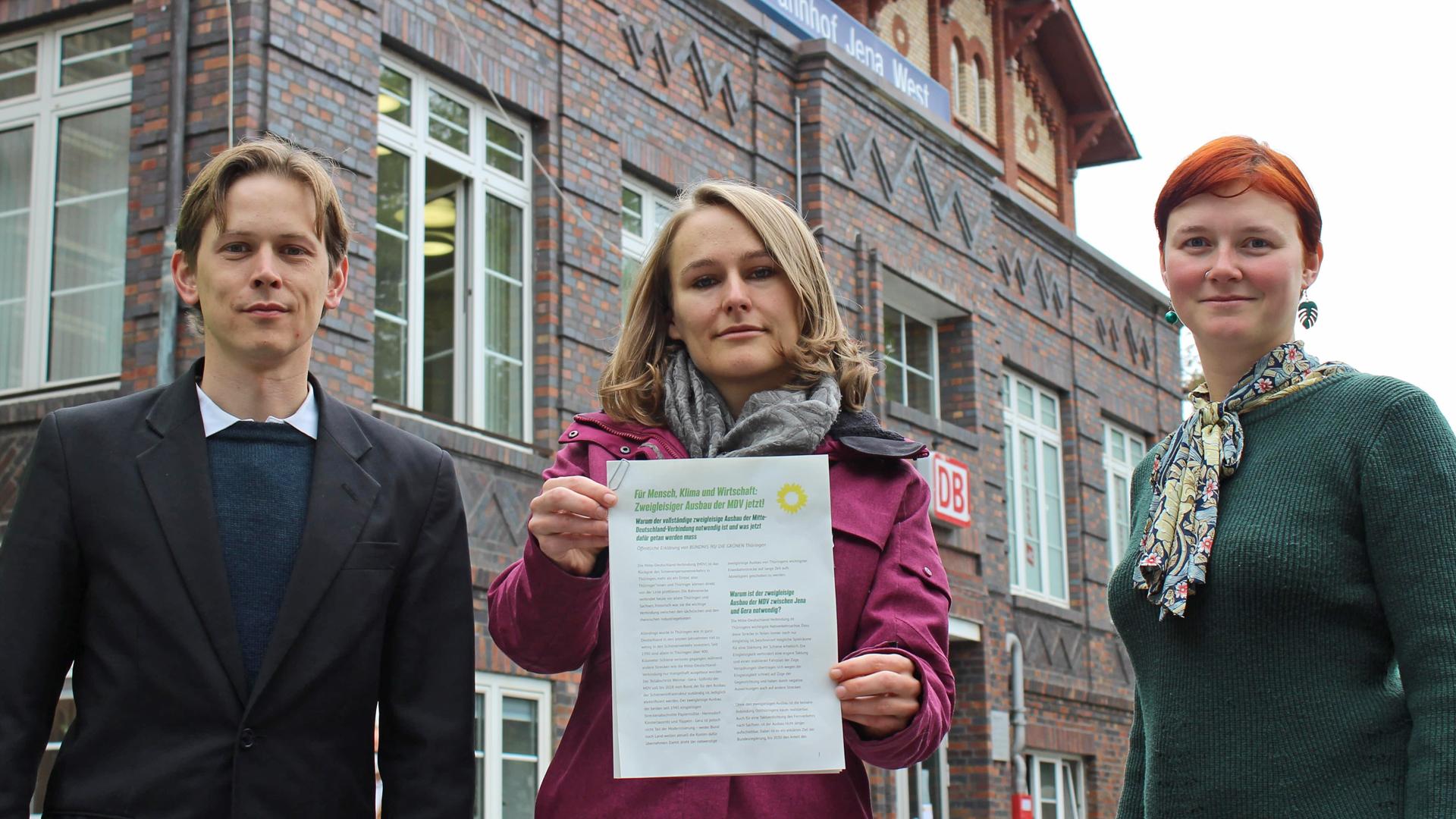 Grüne Spitzenpolitiker*innen fordern zweigleisigen Ausbau der Mitte-Deutschland-Verbindung